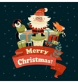 Santa Claus with cute squirrel and penguin vector image vector image