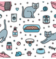 seamless pattern with pet shop products for cats vector image vector image