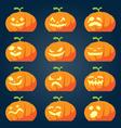 set halloween pumpkin faces vector image vector image