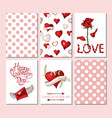 set of 6 cards or templates for valentines day vector image