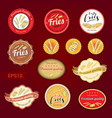 set of fries variety tag label emblem or sticker vector image vector image