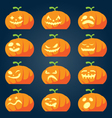 Set of halloween pumpkin faces vector image