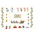 set of pixel art for christmas and new year vector image