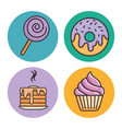 set of sweets design vector image