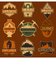 set of vintage labels mountain adventure hiking vector image vector image