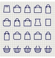Shopping bags sketch icons set vector image vector image