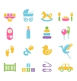 Simple Children Toys and Accessories Icons vector image vector image