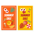 summer sale banner set with tropical elements vector image vector image