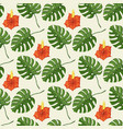 tropical pattern with monstera leaves and gibiscus vector image