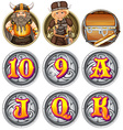 Viking characters and numbers on badges vector image