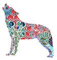 wolf ornate pattern vector image vector image
