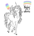unicorn and princess vector image