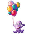 A monster holding balloons vector image vector image