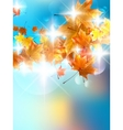 Autumn background with colorful leaves on blue vector image vector image