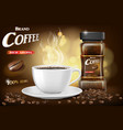 black instant coffee cup and beans ads design 3d vector image vector image