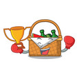 boxing winner picnic basket mascot cartoon vector image vector image