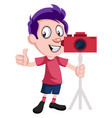 boy with camera on white background vector image vector image