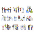 business teamwork icons set vector image vector image