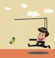 Businessman chasing money trap in retro color vector image