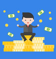 businessman sitting on stack of gold coins vector image