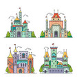 cartoon castles kingdom palace medieval fortress vector image