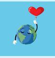 cartoon earth character heart balloon vector image