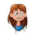 cartoon head girl sad smiley vector image vector image