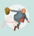cartoon office man with briefcase vector image