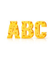 cheese font 3d symbol letter a b c set vector image