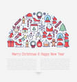 christmas celebration concept in half circle vector image vector image