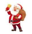 christmas santa with gift sack red hat and bell vector image