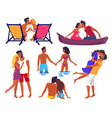 couples in love on summer holidays vector image