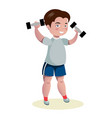 cute boy exercising with dumbbells vector image vector image
