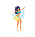 cute modern sexy dancer brunette with blue yellow vector image vector image