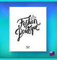 fashion boutique designer label or poster image vector image vector image