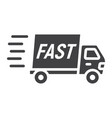 fast shipping glyph icon delivery truck vector image vector image