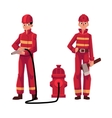 Firefighter fireman in red protective suit vector image vector image