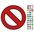 Forbidden Symbol With Toolbar Icon Set vector image