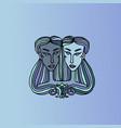 gemini girl portrait zodiac sign simple blue vector image vector image