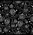 halloween seamless background with batspumpkin vector image
