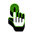 hand click on button green 3d icon with vector image vector image