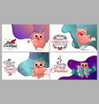 happy chinese new year of pig set card text vector image vector image