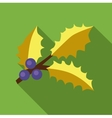 Holly berry leaves and fruits icon flat style vector image