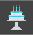 icon blue birthday cake on a stand vector image vector image
