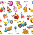 kid toys icons seamless pattern children vector image
