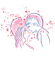 Kissing pair vector image vector image
