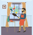 man cooking dinner at home hobmale person vector image