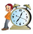 man leaning on a giant alarm clock vector image vector image