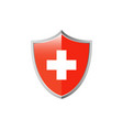 medical cross and shield icon vector image vector image