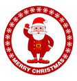 merry christmas poster with santa claus on a red vector image vector image